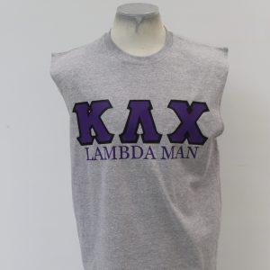 """Kappa Lambda Chi Gray Sleeveless """"Lambda Man"""" Shirt"""