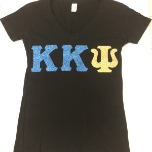 Kappa Kappa Psi black glitter blue/gold letters v-neck tee