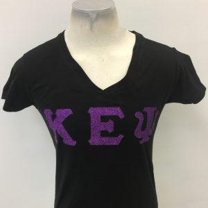 Kappa Epsilon Psi Purple letters v-neck tee