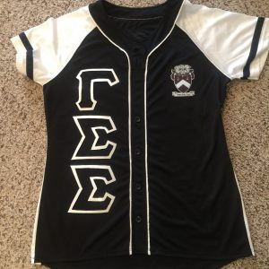 "Gamma Sigma Sigma ""Glitter up your letters"" jersey (black/white) white glitter"