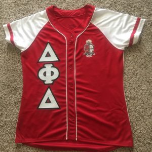 "Delta Phi Delta ""Heat Up Your Letters"" Ladies custom jersey"