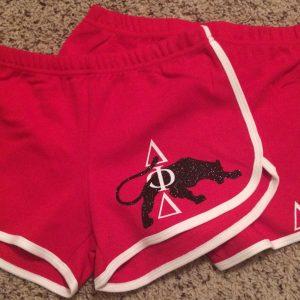 Delta Phi Delta custom glitter shorts