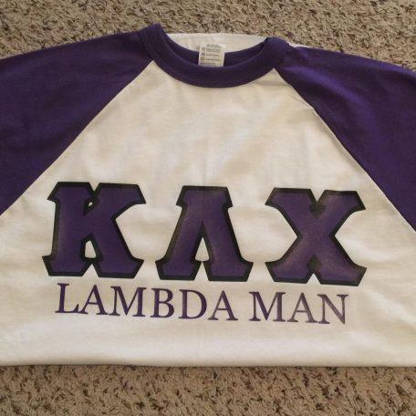 """Kappa Lambda Chi """"Lambda Man"""" Purple Sleeve Jersey"""
