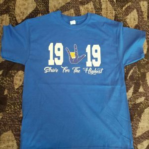 "Kappa Kappa Psi ""strive for the highest"" hand sign t shirt"
