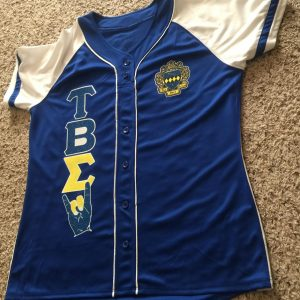 "Tau Beta Sigma ""Glitter Up my letters/Hand Sign"" Royal Custom lady cut Jersey"