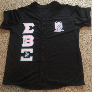 "Sigma Beta Xi ""Heat Up Your Letters"" black custom jersey"